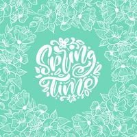 Vektor blommig ram för hälsningskort med handskriven text Vårt Tid. Isolerad plattskandinavian illustration på turkos bakgrundsmönster. Handdragen naturdesign