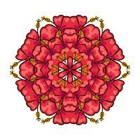 Runde Ornament-Stil psychedelisch 60er tropischer Pflanzen und Elemente
