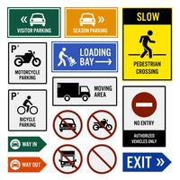 Parkeringsområde Sammansatta skyltar. vektor