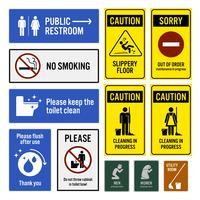 Meddelande och varningsskyltar.