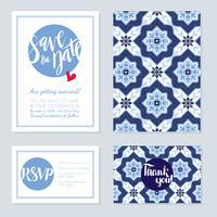 Antik vintage kort bröllop azulejos i portugisiska plattor stil. vektor