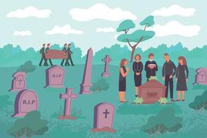 Friedhof Beerdigung Wohnung Zusammensetzung vektor