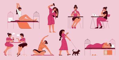 Mädchen Alltagsaktivitäten eingestellt vektor