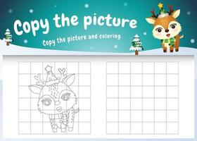 Kopieren Sie das Bild Kinderspiel und die Malvorlage mit einem süßen Hirsch vektor