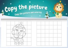 kopiere das bild kinderspiel und die ausmalseite mit einem süßen löwen vektor