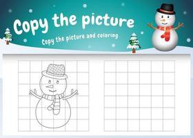 kopiere das bild kinderspiel und die ausmalseite mit einem süßen schneemann vektor