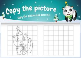 kopiere das bild kinderspiel und die ausmalseite mit einem süßen panda vektor
