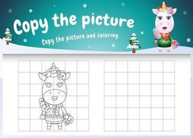 kopiere das bild kinderspiel und die ausmalseite mit einem süßen einhorn vektor