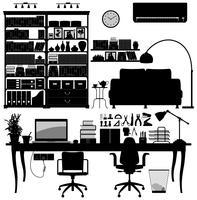 Home Office-Bibliothek Bildsatz vektor
