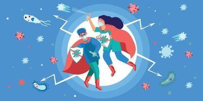 Krankenschwestern bekämpfen Virus flach vektor