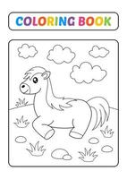 Malbuch, Pferdevektor vektor
