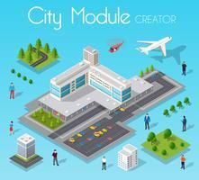 Isometrisk inställd modul stad med en flygplats