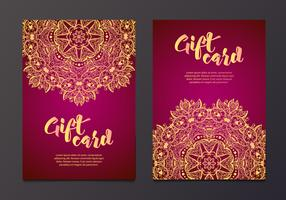Rika guld presentkort i indisk stil. vektor