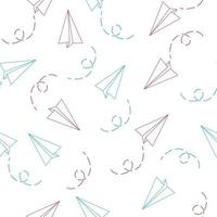 nahtloses Muster mit Umrisspapierflugzeug vektor