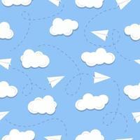 nahtloses Muster mit Papierflieger und Wolken vektor