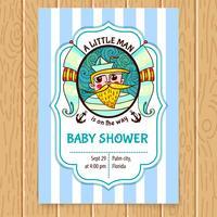 Babyparty-Einladung mit Seekapitän.