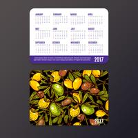 Taschenkalender mit Öko-Produkten, Früchten und Zweigen Argan. vektor