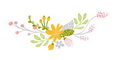 Platt abstrakt grön blomma örter bukett vektor