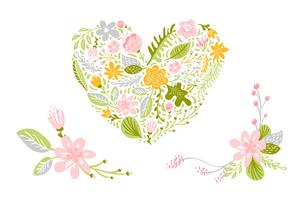 Set av blommens vektorer i pastellfärger. Isolerat blommigt, hjärtat platt illustration
