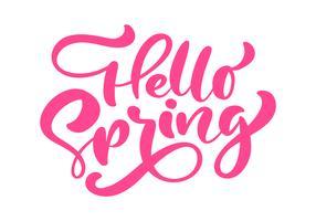 Röd kalligrafi bokstäver frasen Hello Spring vektor
