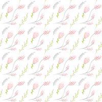 Vector nahtloses Muster mit flachem Blumenblumenstrauß und -blättern