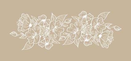 Spring vektor blommig ram prydnad skandinavisk tropisk isolerad illustration
