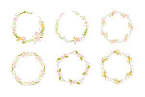 Set av vårblomma örter krans. Platt abstrakt vektor trädgård ram