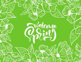Grön vektor blommig ram för hälsningskort med text Välkommen våren