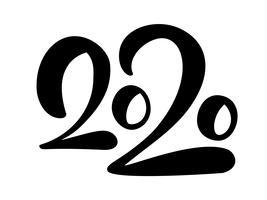 Vektor-Beschriftungstext 2020 des glücklichen neuen Jahres Hand gezeichneter.