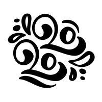 Hand gezeichneter Flourishvektor, der Kalligraphiezahltext 2020 beschriftet.