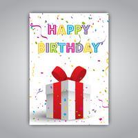 Födelsedagskort med present och konfetti vektor