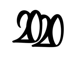 Hand gezeichneter Vektor 2020 der Beschriftung der schwarzen Zahl der Kalligraphie