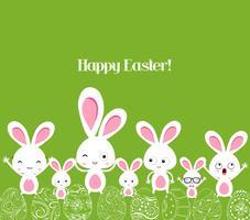 lycklig påsk med kanin vektor