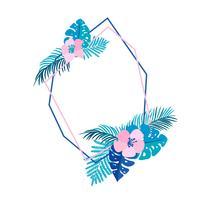 Geometrisk sommarkran med tropisk palmblomma och plats för text vektor