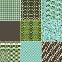 Blaue u. Grüne Eulen-Muster vektor