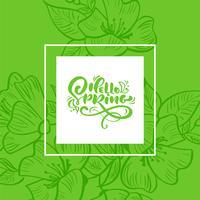 Vektor grön blommig ram för hälsningskort med handskriven text Hello Spring