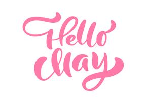 Rosa kalligrafi bokstäver frasen Hej maj vektor