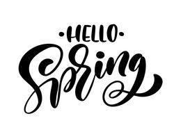 Kalligrafi bokstäver frasen Hello Spring vektor