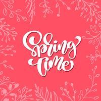 Söt vektor blommig ram för hälsningskort med handskriven text Vårt Tid