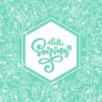 Geometrisk turkos ram med handskriven text Hello Spring vektor