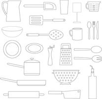 schwarze umriss küche kochobjekte vektor