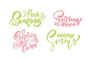 Set med sex jag älskar Spring Pastel kalligrafi bokstäver fraser vektor