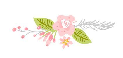 Plana abstrakta gröna blomma örter vintage bukett