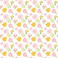 Vektor sömlös mönster med platt blomma bukett och löv