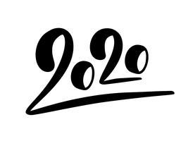 Vektor-Beschriftungstext 2020 des glücklichen neuen Jahres Hand gezeichneter