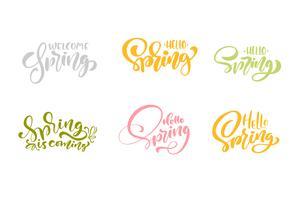 Set med sex välkomna Spring Pastel kalligrafi bokstäver fraser vektor