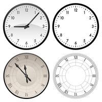 Moderne Uhr und antike Uhr in den Farb- und schwarzen Schablonenversionen, Vektorillustration