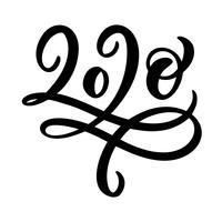 Hand gezeichneter Flourishvektor, der Kalligraphiezahltext 2020 beschriftet