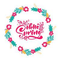 Blumenvektorkranzhintergrund mit kalligraphischem Beschriftungstext hallo Frühling