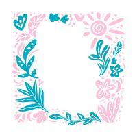 Sommar vektor blommig ram tropisk komposition med plats för text